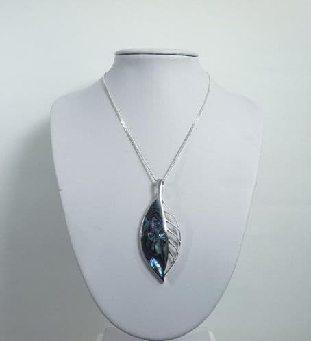 925 Sterling Silver Leaf Stone Set Abalone Shell Pendant & Chain